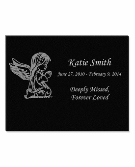 11 x 8.5 Angel Girl Laser-Engraved Infant-Child Black Granite Memorial Plaque