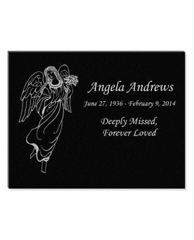 11 x 8.5 Angel Laser-Engraved Plaque Black Granite Memorial