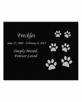 11 x 8.5 Ascending Cat Prints Laser-Engraved Pet Black Granite Memorial Plaque