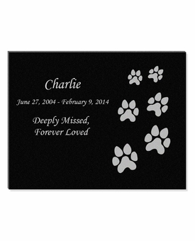 11 x 8.5 Ascending Dog Prints Laser-Engraved Pet Black Granite Memorial Plaque