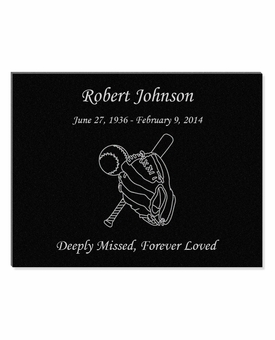 11 x 8.5 Baseball Laser-Engraved Plaque Black Granite Memorial