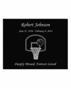 11 x 8.5 Basketball Laser-Engraved Plaque Black Granite Memorial