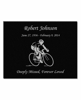 11 x 8.5 Biker Laser-Engraved Plaque Black Granite Memorial