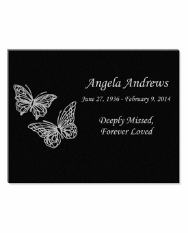 11 x 8.5 Butterflies Laser-Engraved Plaque Black Granite Memorial