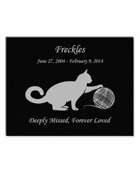 11 x 8.5 Cat Playing with Yarn Laser-Engraved Pet Black Granite Memorial Plaque