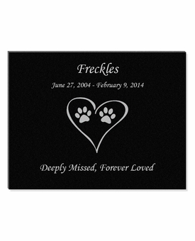 11 x 8.5 Cat Prints in Heart Laser-Engraved Pet Black Granite Memorial Plaque