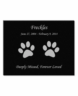 11 x 8.5 Cat Prints Laser-Engraved Pet Black Granite Memorial Plaque