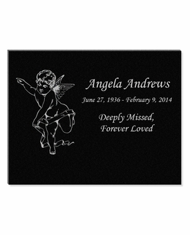 11 x 8.5 Cherub Laser-Engraved Plaque Black Granite Memorial