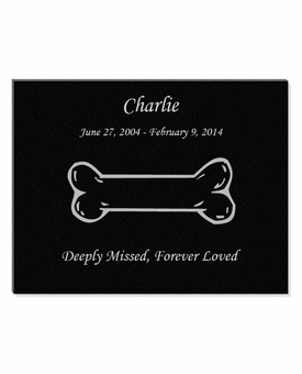 11 x 8.5 Dog Bone Laser-Engraved Pet Black Granite Memorial Plaque