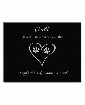 11 x 8.5 Dog Prints in Heart Laser-Engraved Pet Black Granite Memorial Plaque