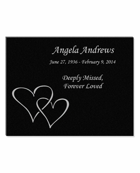 11 x 8.5 Double Heart Laser-Engraved Plaque Black Granite Memorial