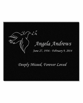 11 x 8.5 Dove with Olive Branch Laser-Engraved Plaque Black Granite Memorial