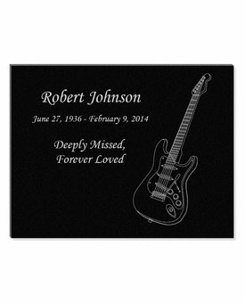 11 x 8.5 Electric Guitar Laser-Engraved Plaque Black Granite Memorial