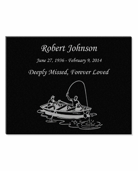 11 x 8.5 Fisherman in Boat Laser-Engraved Plaque Black Granite Memorial