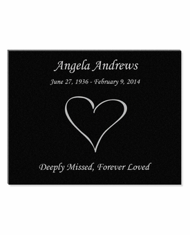 11 x 8.5 Heart Laser-Engraved Plaque Black Granite Memorial