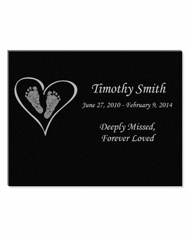 11 x 8.5 Heart with Feet Laser-Engraved Infant-Child Black Granite Memorial Plaque