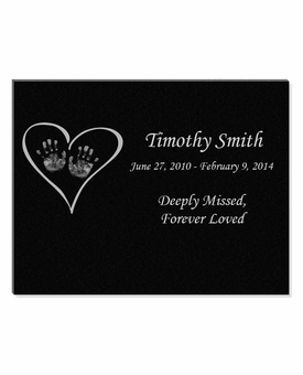 11 x 8.5 Heart with Hands Laser-Engraved Infant-Child Black Granite Memorial Plaque