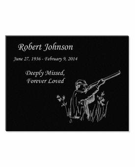 11 x 8.5 Hunter Laser-Engraved Plaque Black Granite Memorial