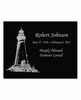 11 x 8.5 Lighthouse Laser-Engraved Plaque Black Granite Memorial
