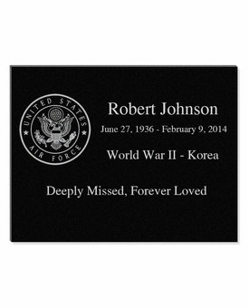 11 x 8.5 Military and Veteran Laser-Engraved Plaque Black Granite Memorial