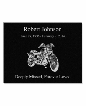 11 x 8.5 Motorcycle Laser-Engraved Plaque Black Granite Memorial