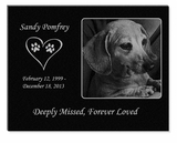 11 x 8.5 Photo Laser-Engraved Pet Black Granite Memorial Plaque