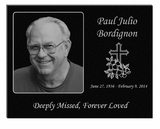 11 x 8.5 Photo Laser-Engraved Plaque Black Granite Memorial
