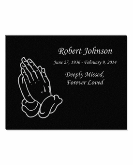 11 x 8.5 Praying Hands Laser-Engraved Plaque Black Granite Memorial