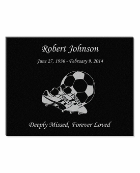11 x 8.5 Soccer Laser-Engraved Plaque Black Granite Memorial