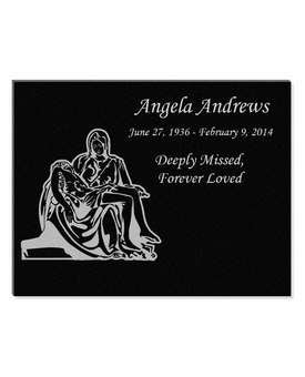 11 x 8.5 The Pieta Laser-Engraved Plaque Black Granite Memorial
