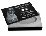 12 x 8 x 2-1/4 Photo Laser-Engraved Black Granite Pet Cremation Urn