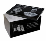 12 x 8 x 7 Photo Laser-Engraved Black Granite Cremation Urn