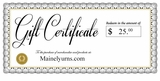 $25 Mainely Urns Gift Certificate