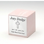 $49 Pink Small Cube Cultured Marble Cremation Urn Vault