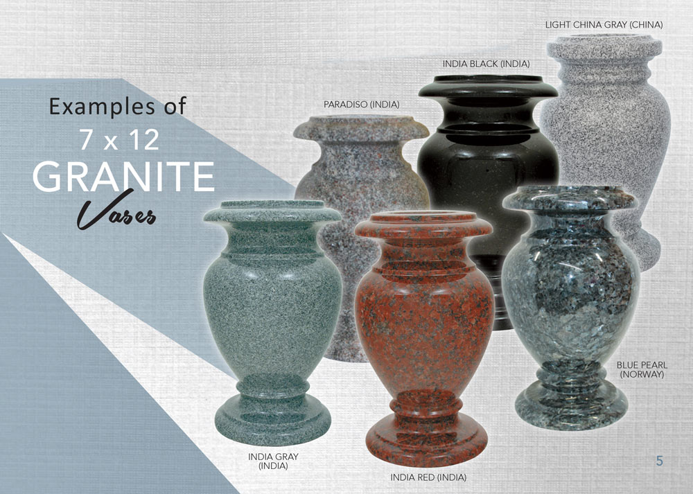 Mainely Urns & 7 x 12 Granite Cemetery Flower Vase - 28 Colors