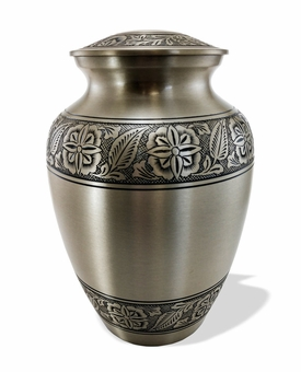 """9"""" Pewter with Flowers Cremation Urn-S"""