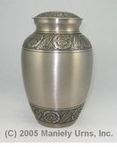 "9"" Pewter with Flowers - Engravable Urn"