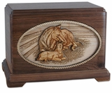 A Mothers Love with 3D Inlay Oak Wood Companion Urn