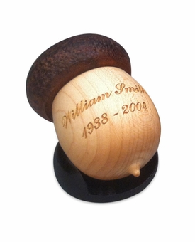 Acorn Hand-Turned Maple and Walnut Wood Keepsake Cremation Urn