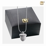 Acorn Rhodim Plated Two Tone Sterling Silver Cremation Jewelry Pendant Necklace