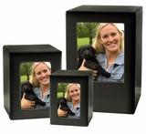 Adult Black Satin Finish MDF Wood Photo Cremation Urn