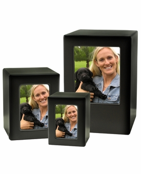 Medium Black Satin Finish MDF Wood Photo Cremation Urn