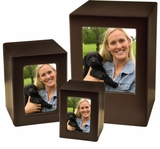 Keepsake Cherry Finish MDF Wood Photo Cremation Urn