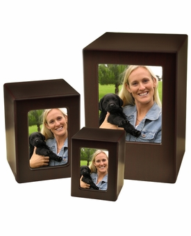 Adult Cherry Finish MDF Wood Photo Cremation Urn