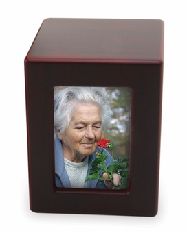Medium Cherry Finish MDF Wood Photo Cremation Urn