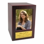 Adult Cherry Finish MDF Wood Photo Cremation Urn with Engraved Nameplate