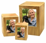 Medium Natural Finish MDF Wood Photo Cremation Urn
