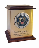 Air Force Color Emblem Sheet Bronze With Walnut Trim Snap-Top Cremation Urn
