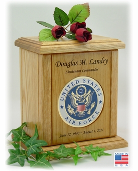 Air Force Recessed Military Embossed Medallion Engraved Wood Cremation Urn