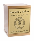 Air Force Sheet Bronze Overlap Top Cremation Urn with Engraved Plate
